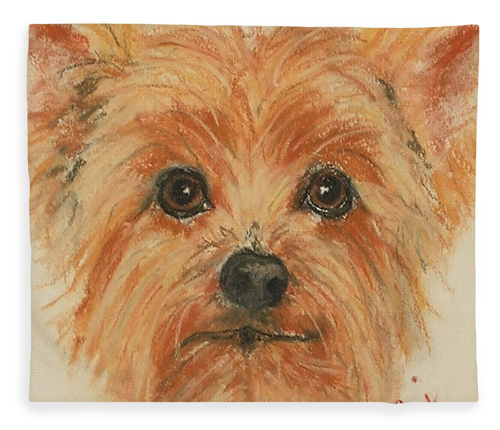 Pastel Fleece Blanket featuring the drawing Lil Rascal by Cori Solomon