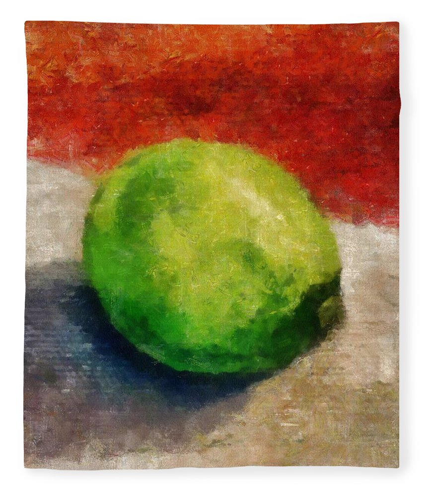 Lime Fleece Blanket featuring the painting Lime Still Life by Michelle Calkins