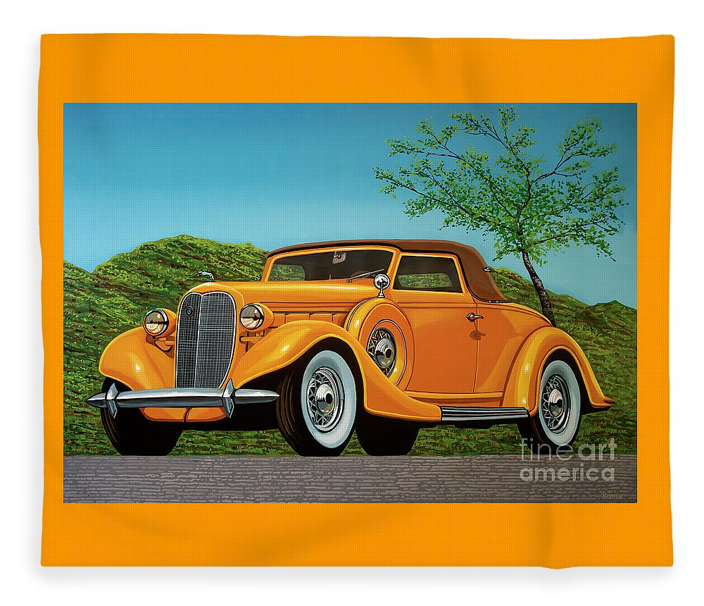 Lincoln K Convertible Fleece Blanket featuring the painting Lincoln K Convertible 1935 Painting by Paul Meijering