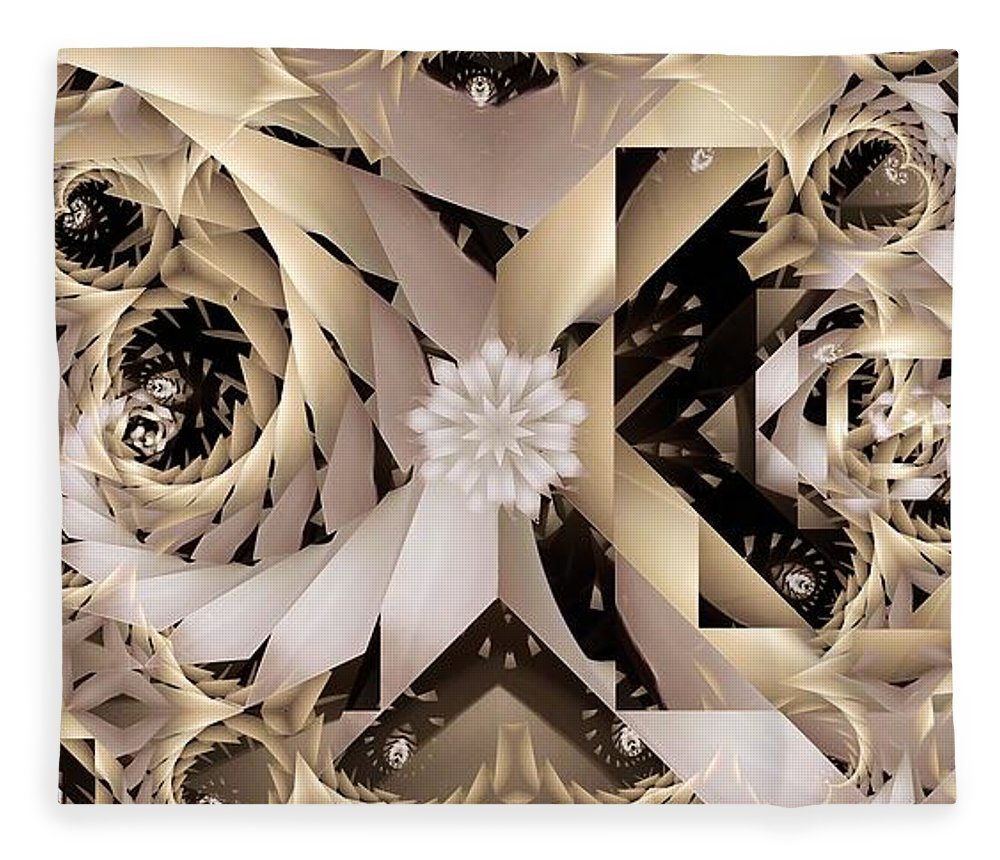 Abstract Fleece Blanket featuring the digital art Linen and Silk by Ron Bissett