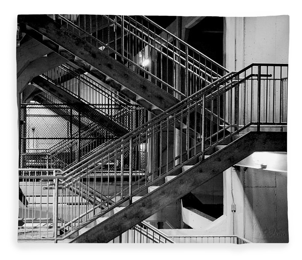 Stairs Fleece Blanket featuring the photograph Lines by Greg Fortier