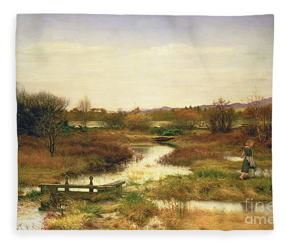 Lingering Autumn Fleece Blanket featuring the painting Lingering Autumn by Sir John Everett Millais