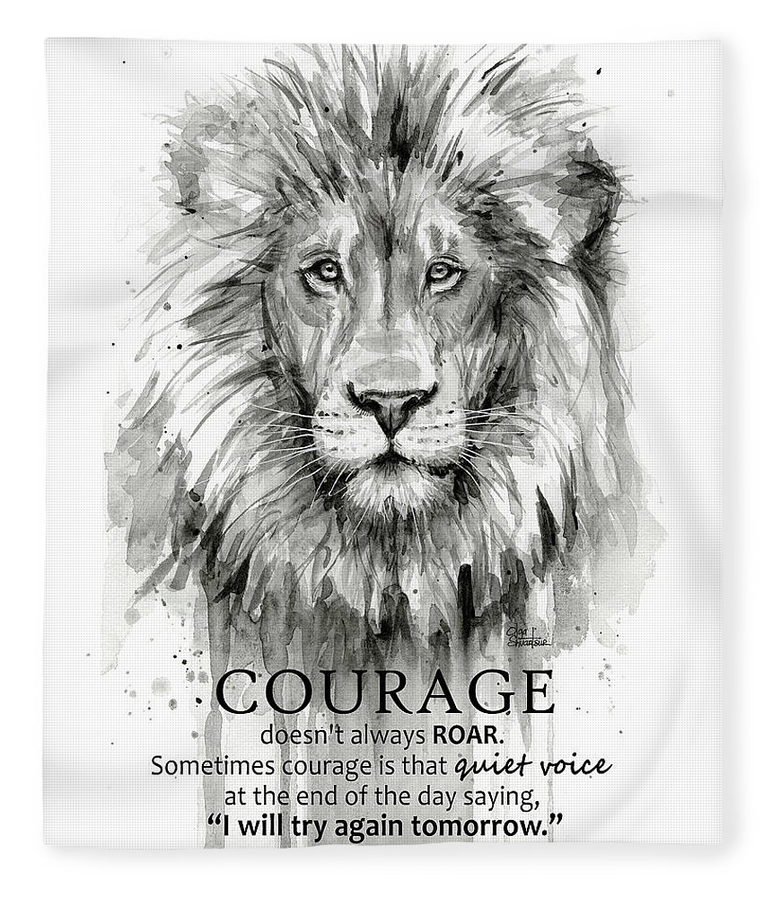 Lion Fleece Blanket featuring the painting Lion Courage Motivational Quote Watercolor Animal by Olga Shvartsur