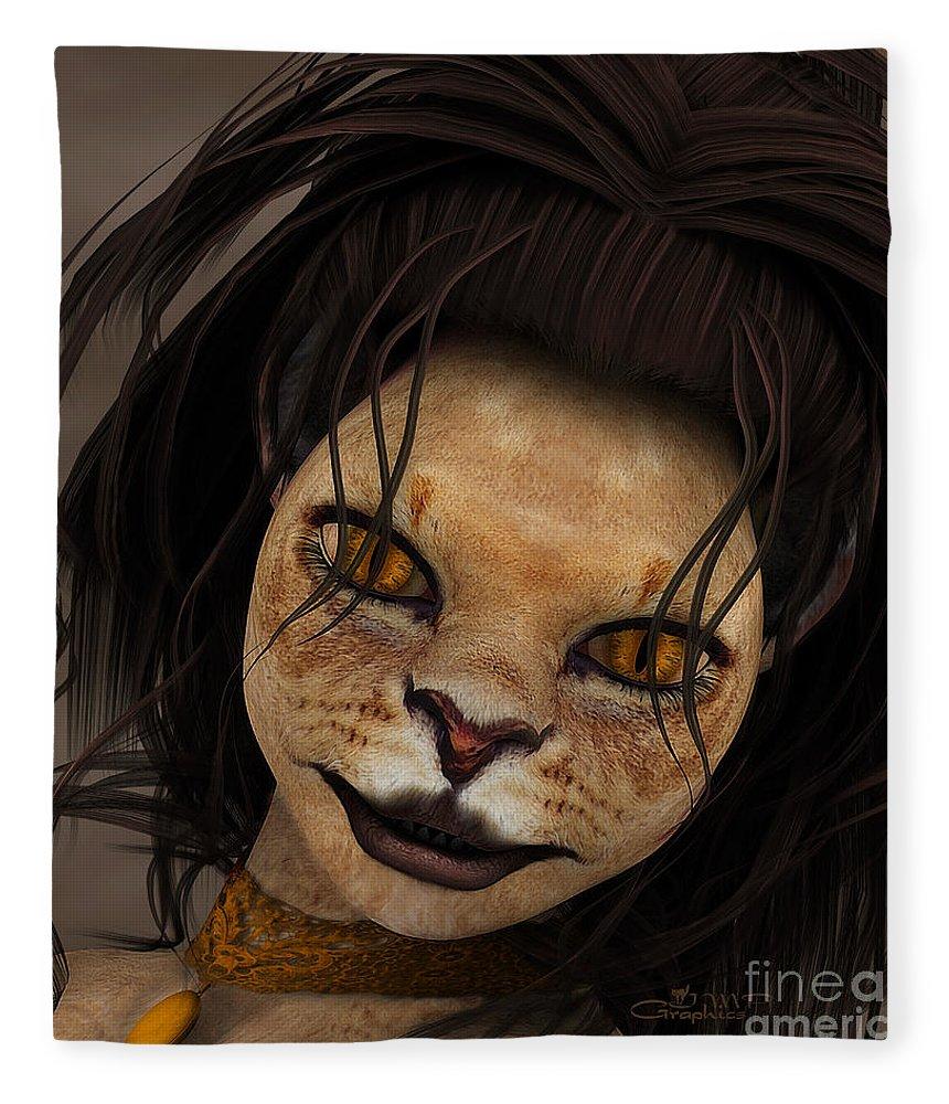 3d Fleece Blanket featuring the digital art Lioness by Jutta Maria Pusl