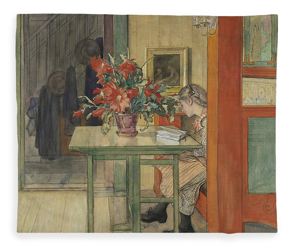 19th Century Art Fleece Blanket featuring the painting Lisbeth Reading by Carl Larsson