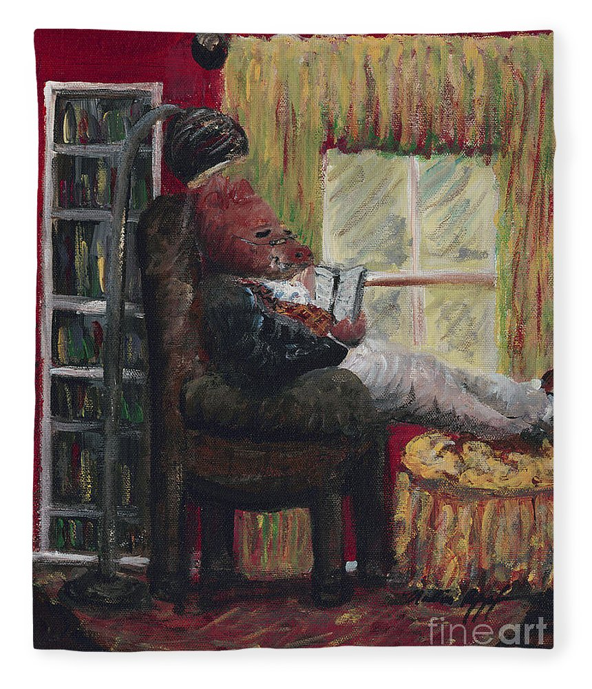 Hog Fleece Blanket featuring the painting Literary Escape by Nadine Rippelmeyer