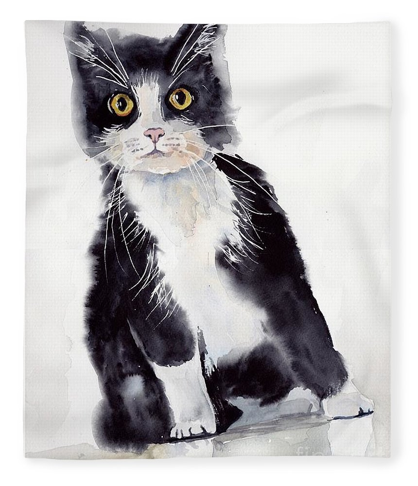 Little Fleece Blanket featuring the painting Little Black Scamp by Suzann Sines
