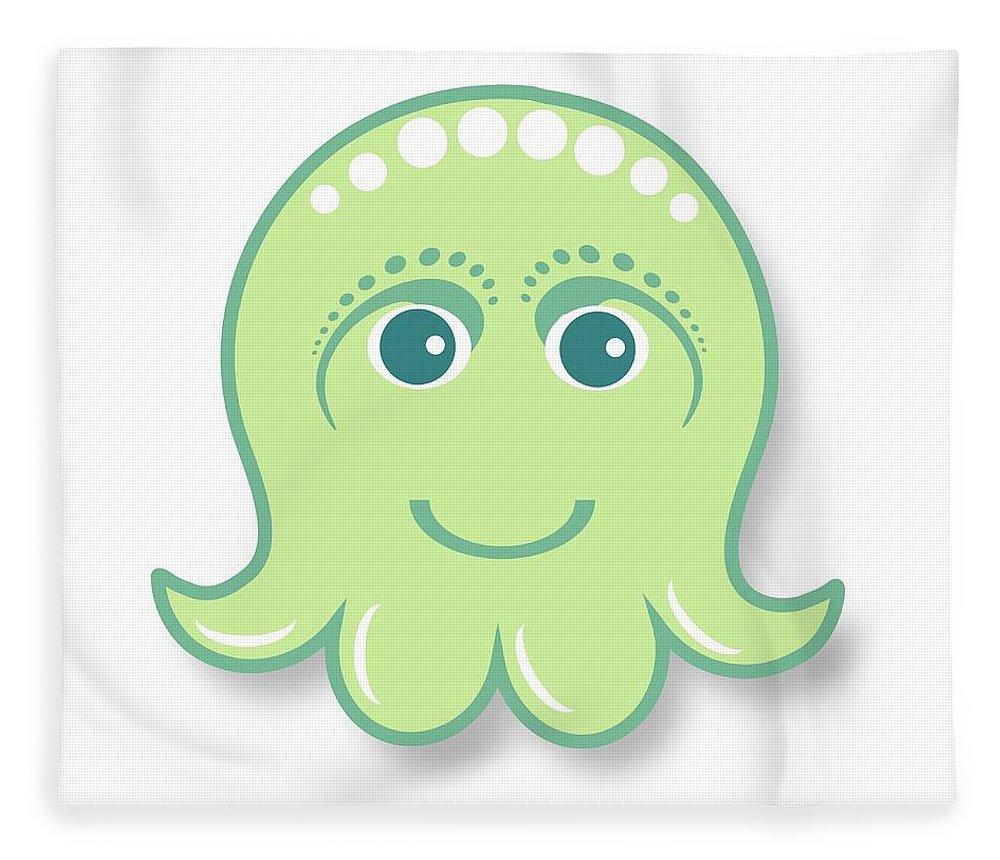 Little Octopus Fleece Blanket featuring the digital art Little cute green octopus by Ainnion