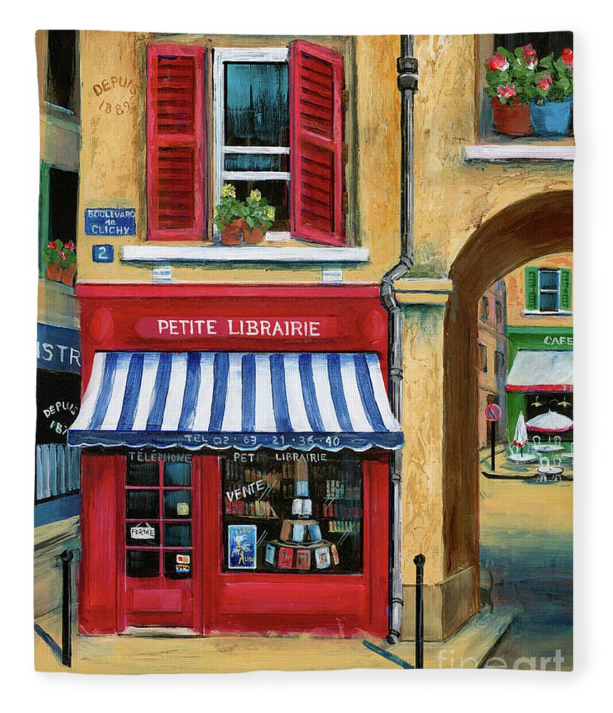 Europe Fleece Blanket featuring the painting Little French Book Store by Marilyn Dunlap