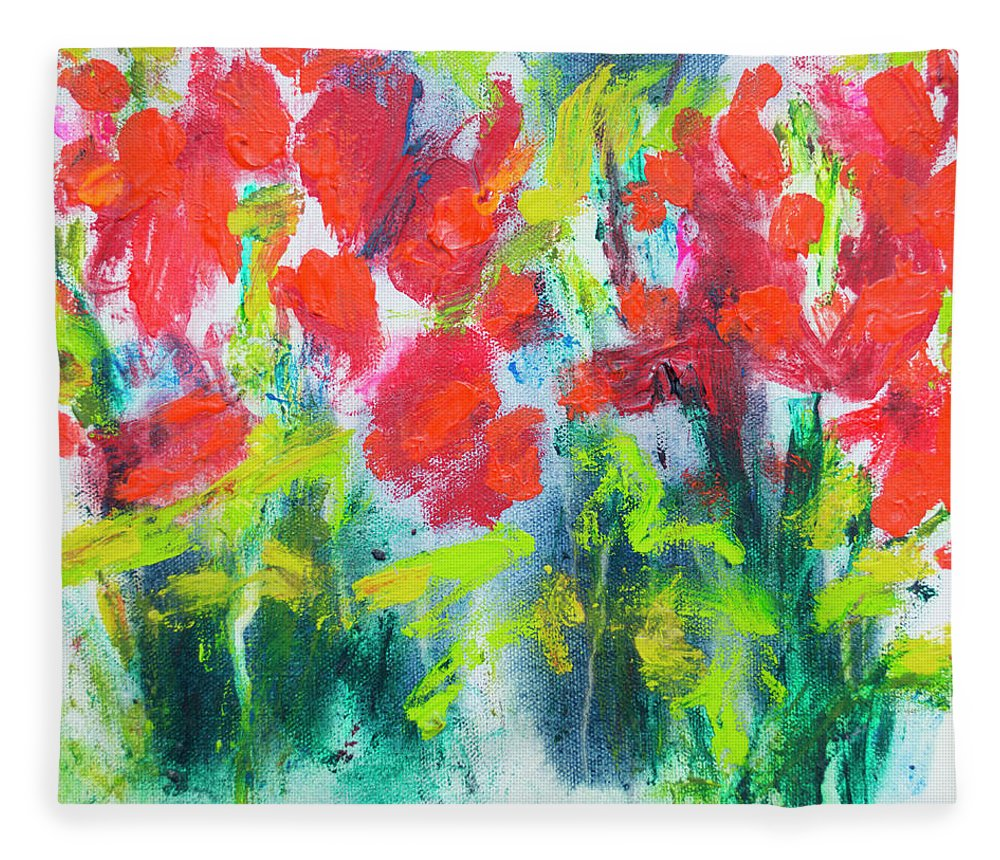Abstract Fleece Blanket featuring the painting Little Garden 01 by Claire Desjardins