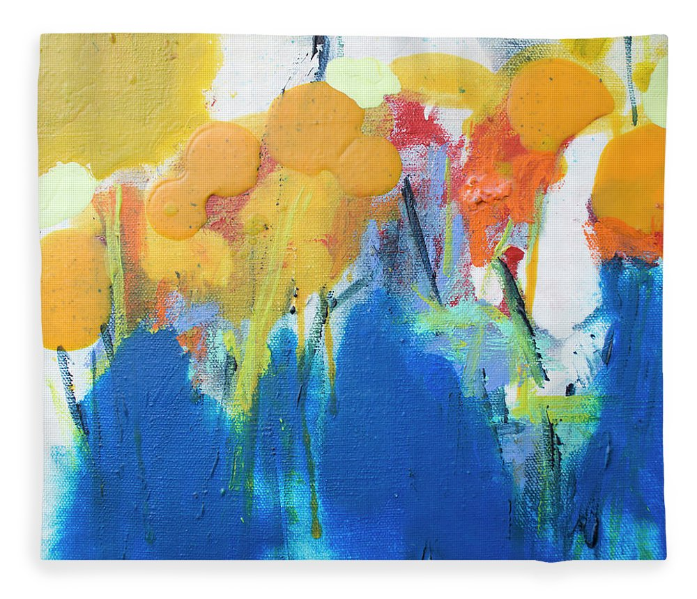 Abstract Fleece Blanket featuring the painting Little Garden 02 by Claire Desjardins
