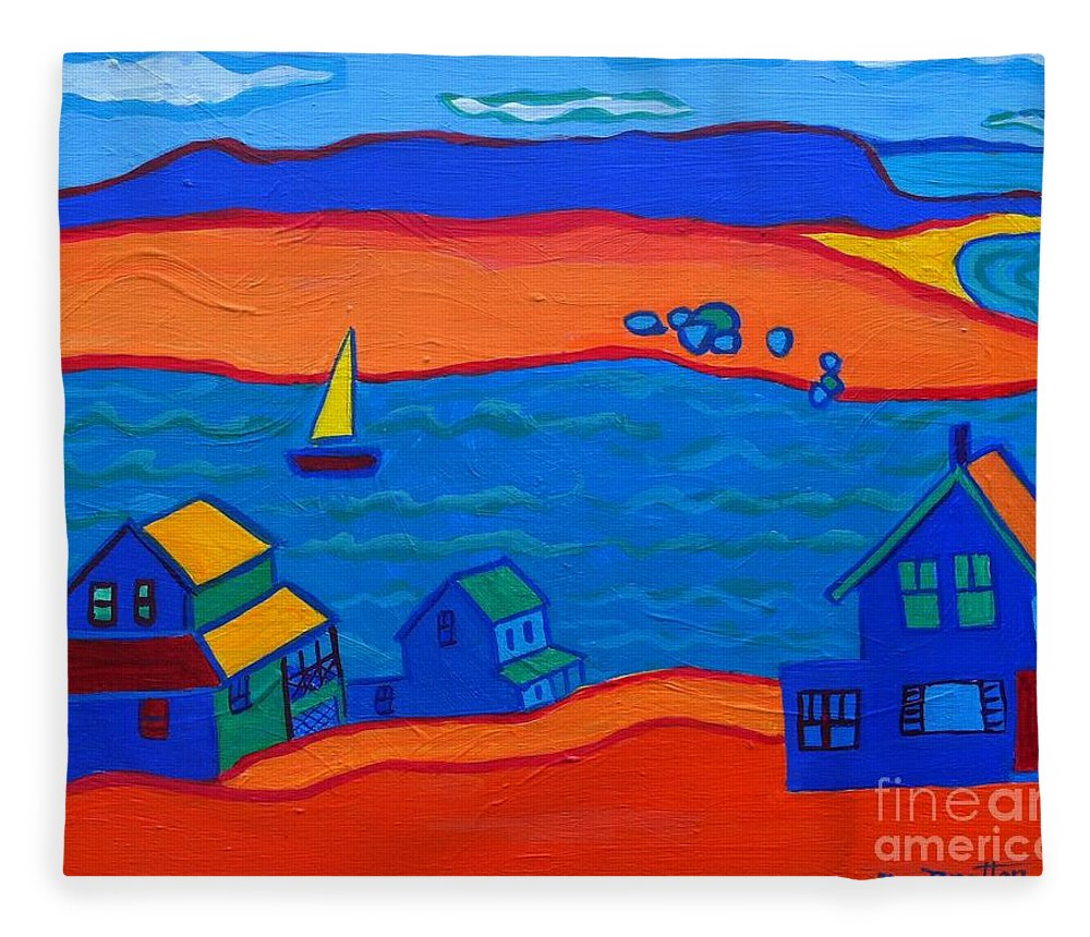 Landscape Fleece Blanket featuring the painting Little Neck Cottages by Debra Bretton Robinson