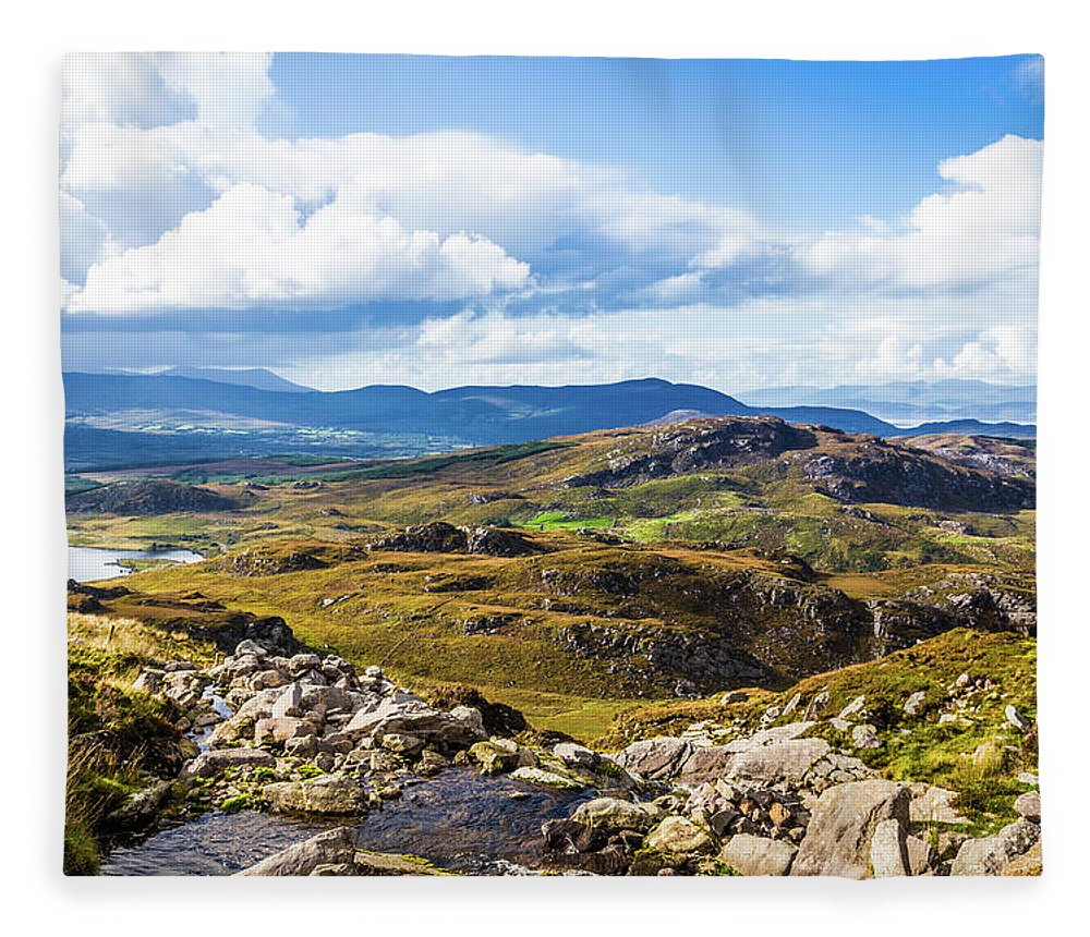 Blue Fleece Blanket featuring the photograph Little Stream Running Down The Macgillycuddy's Reeks by Semmick Photo