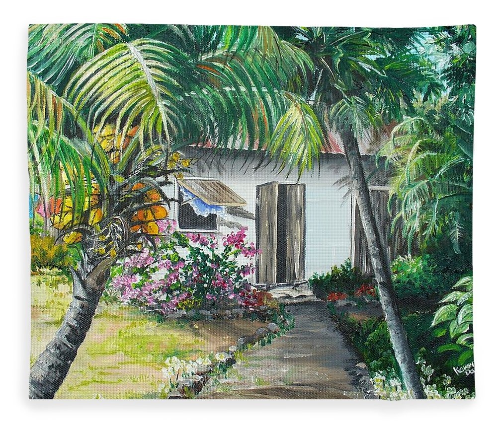Caribbean Painting Typical Country House In Trinidad And The Islands With Coconut Tree Tropical Painting Fleece Blanket featuring the painting Little West Indian House 2...sold by Karin Dawn Kelshall- Best