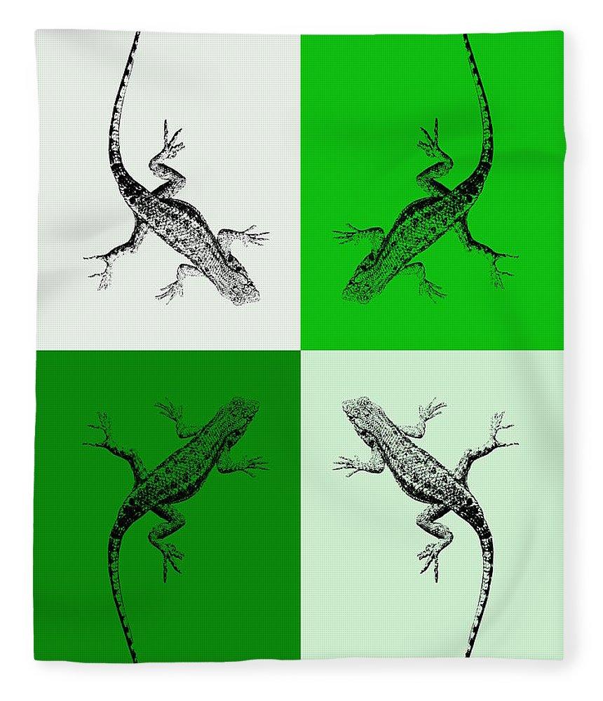 Lizards In Green Tones Photography on Fleece Blanket