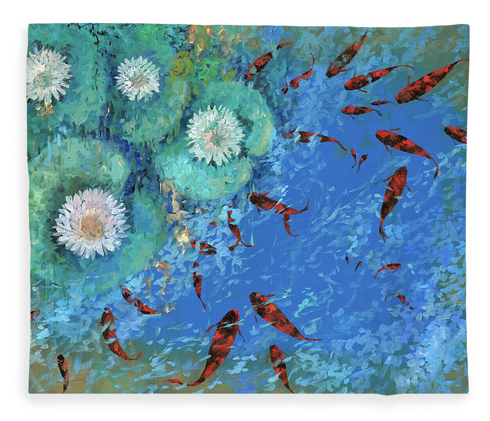Fishscape Fleece Blanket featuring the painting Lo Stagno by Guido Borelli