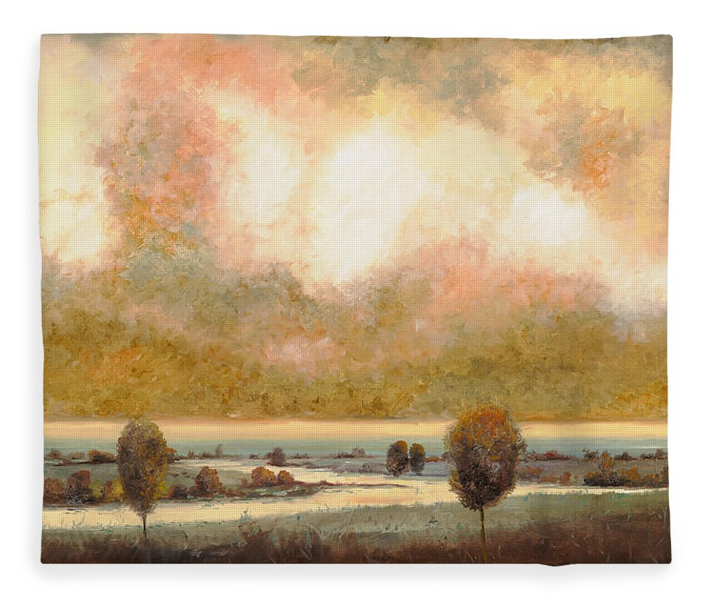 Pond Fleece Blanket featuring the painting Lo Stagno Sotto Al Cielo by Guido Borelli