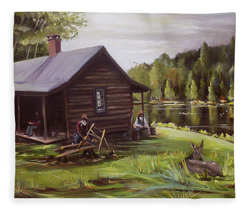 Log Cabin Fleece Blanket featuring the painting Log Cabin by the Lake by Nancy Griswold