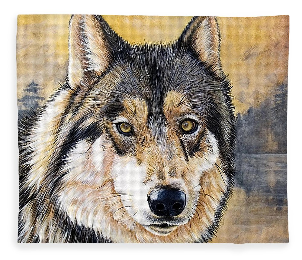 Acrylics Fleece Blanket featuring the painting Loki by Sandi Baker