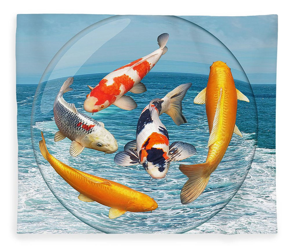 Koi Fleece Blanket featuring the photograph Lost In A Daydream - Fish Out Of Water by Gill Billington