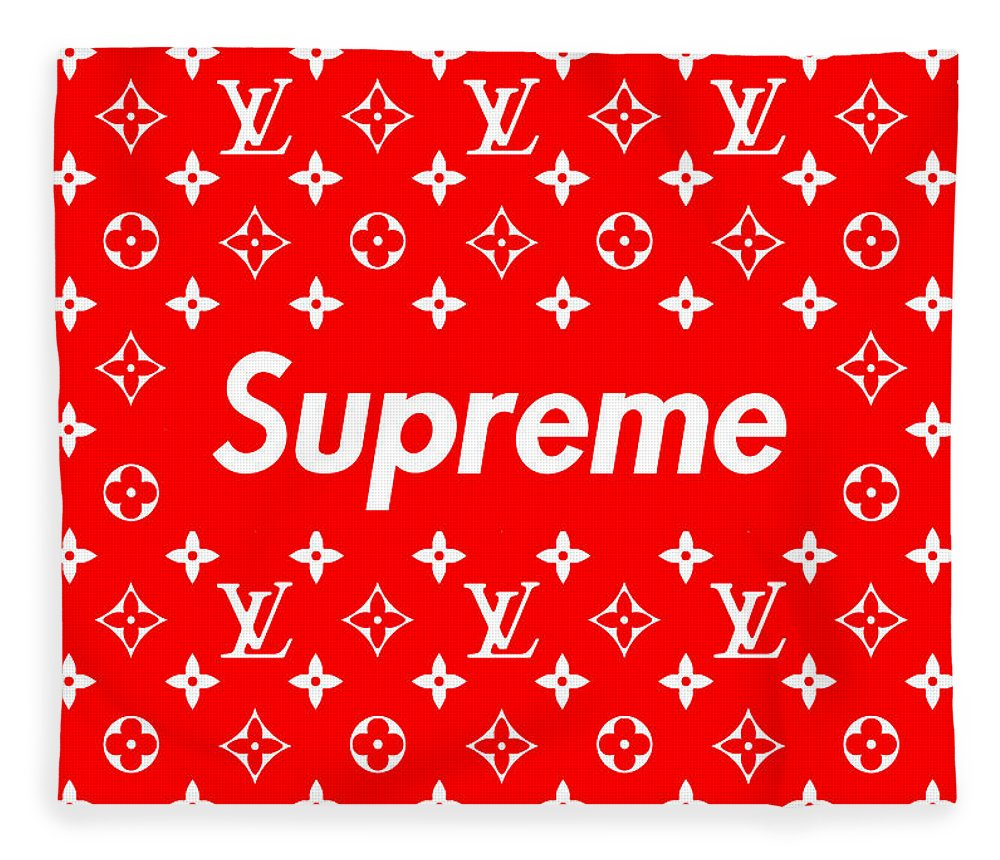 Lv Fleece Blanket featuring the mixed media Louis Vuitton x Supreme by Jae L