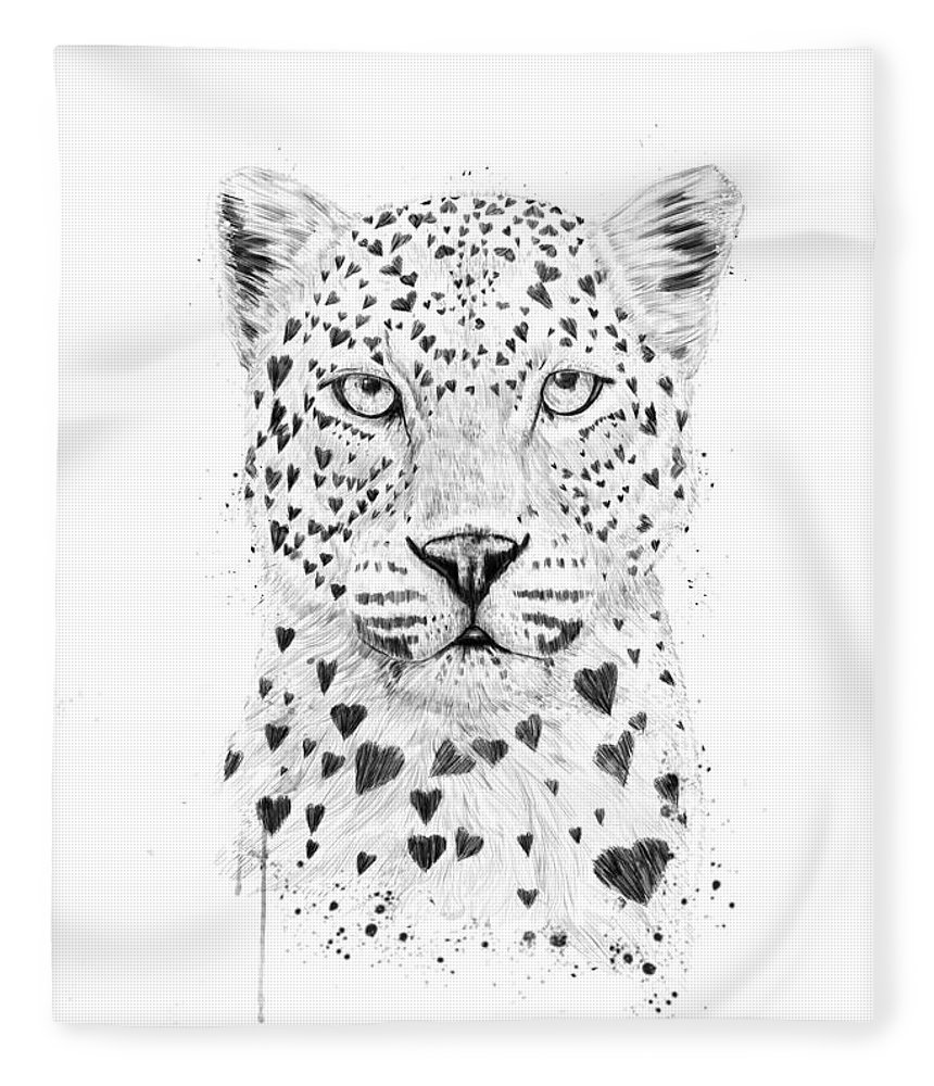 Leopard Fleece Blanket featuring the drawing Lovely leopard by Balazs Solti
