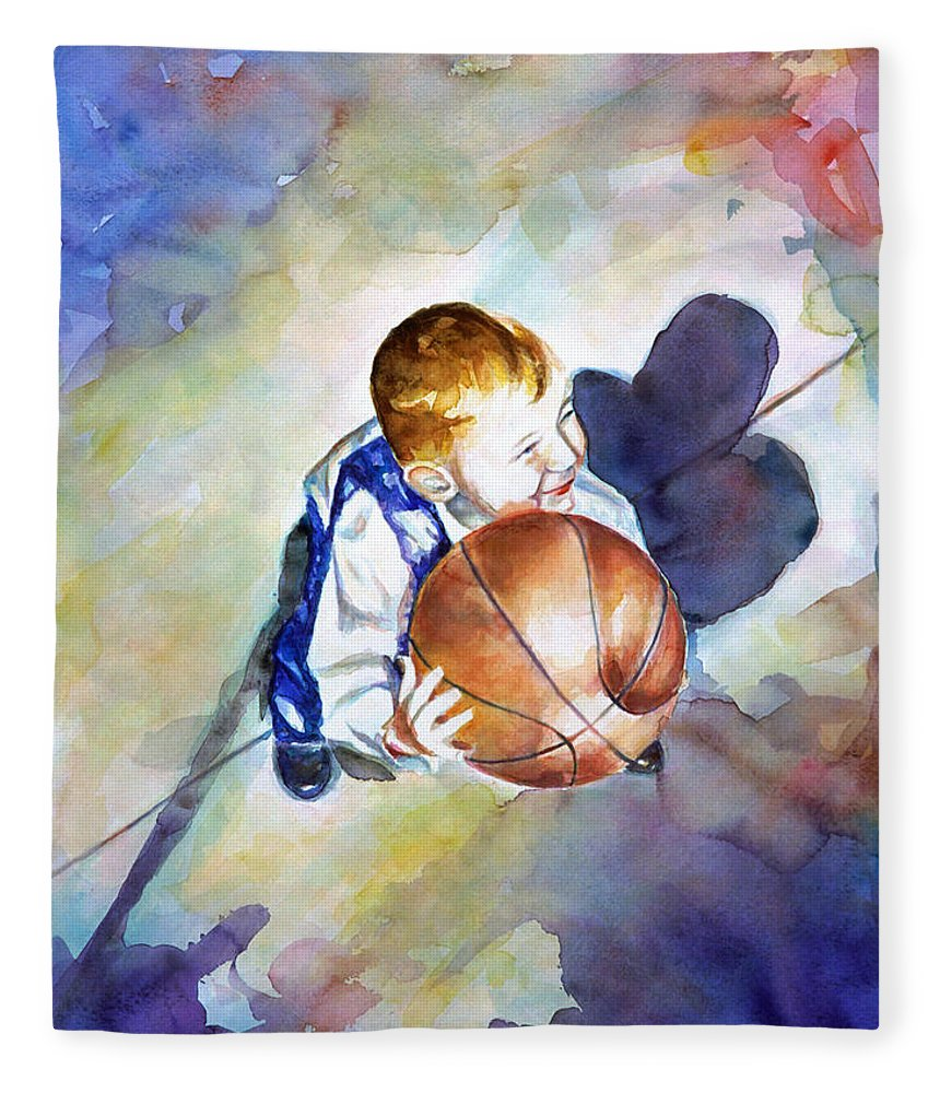 Watercolor Fleece Blanket featuring the painting Loves the Game by Shannon Grissom
