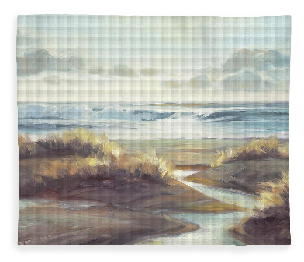 Ocean Fleece Blanket featuring the painting Low Tide by Steve Henderson