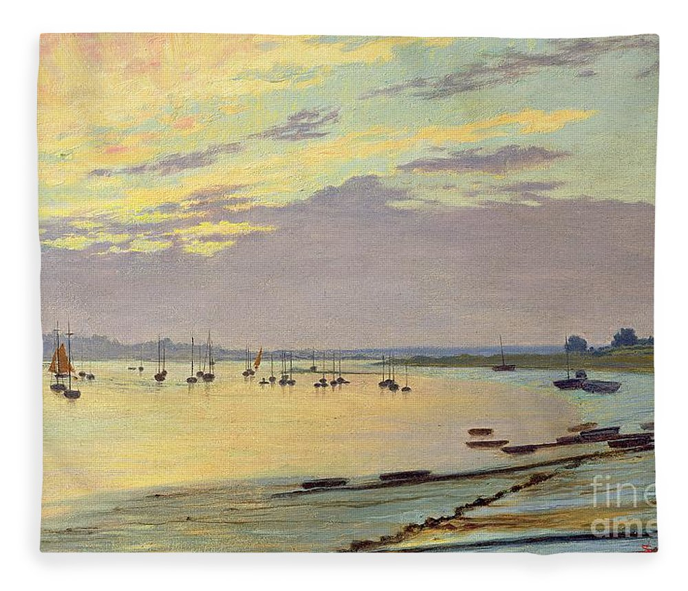 Low Fleece Blanket featuring the painting Low Tide by W Savage Cooper