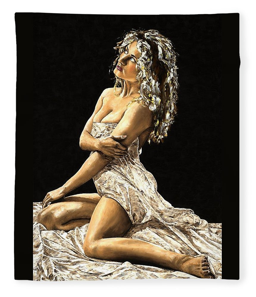Nude Fleece Blanket featuring the painting Luminous by Richard Young