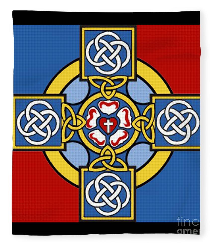Cross Fleece Blanket featuring the photograph Lutheran Cross by Jost Houk