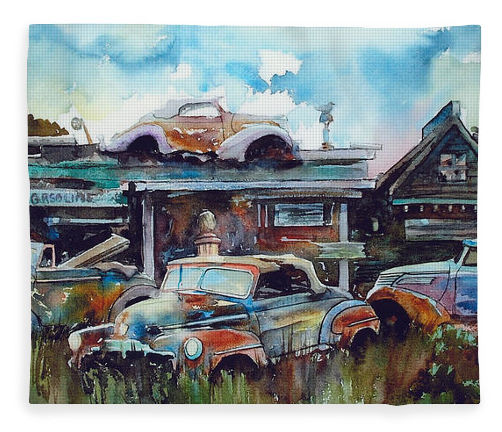 Fords Fleece Blanket featuring the painting Lytton Station by Ron Morrison