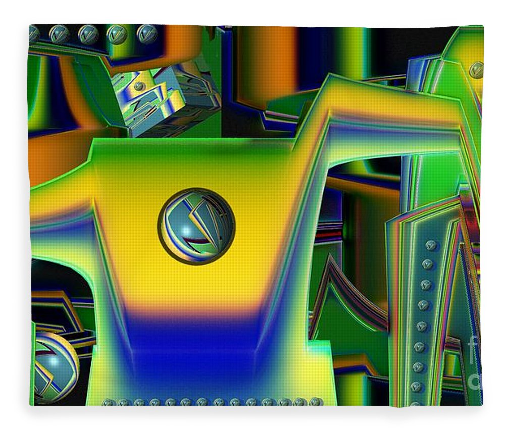 Assembly Line Fleece Blanket featuring the digital art Machinery by Ron Bissett