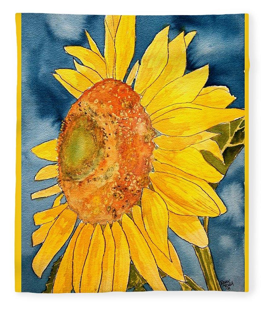 Sunflower Fleece Blanket featuring the painting Macro Sunflower Art by Derek Mccrea