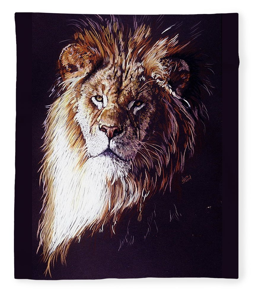 Lion Fleece Blanket featuring the drawing Maestro by Barbara Keith