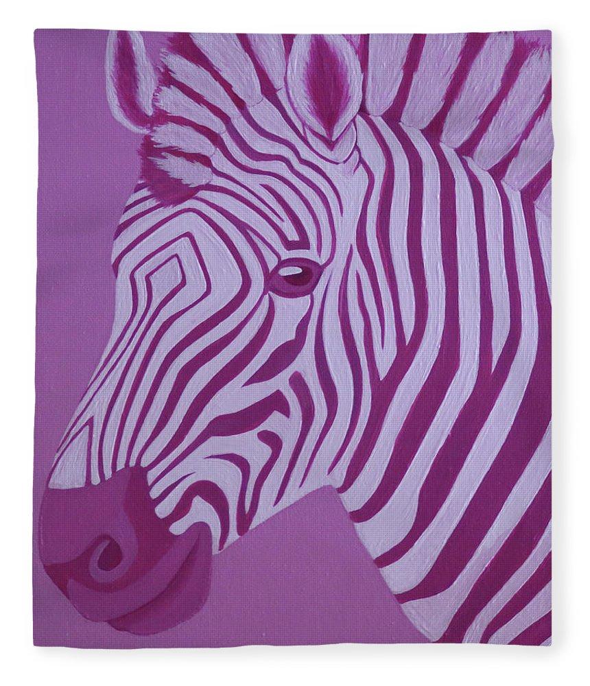 Magenta Zebra Fleece Blanket