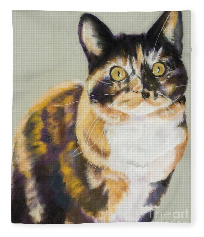 Calico Fleece Blanket featuring the painting Maggie Mae by Pat Saunders-White