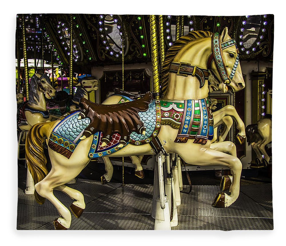 Magical Carousels Fleece Blanket featuring the photograph Magic Carrousel Horse Ride by Garry Gay