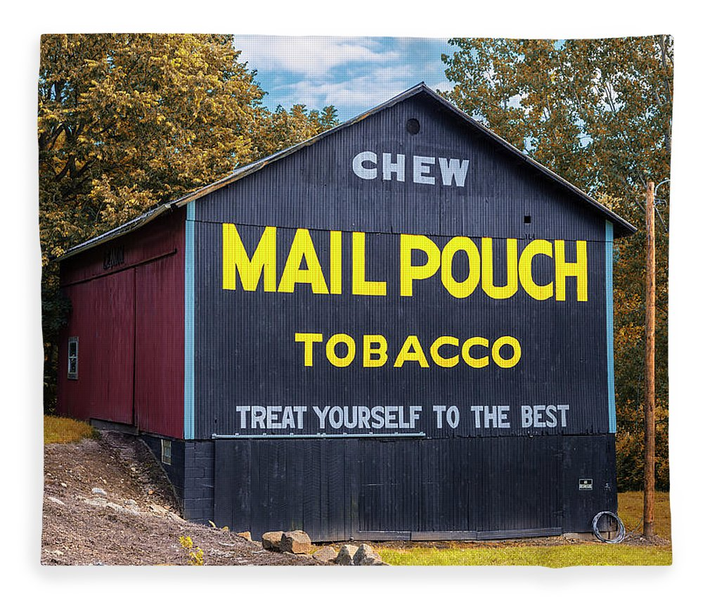 Mail Pouch Tobacco Fleece Blanket featuring the photograph Mail Pouch Barn - Oh 83 by Stephen Stookey