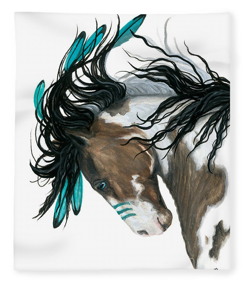 Turquoise Fleece Blanket featuring the painting Majestic Turquoise Horse by AmyLyn Bihrle