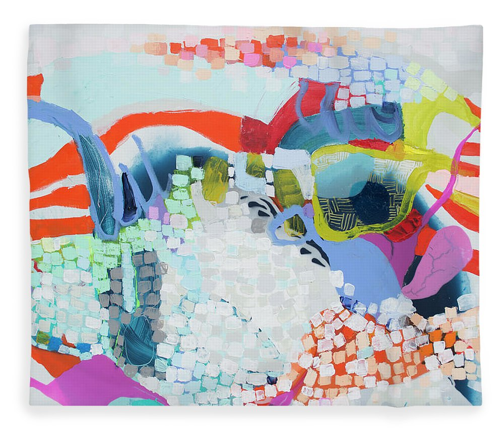 Abstract Fleece Blanket featuring the painting Make Some Noise by Claire Desjardins