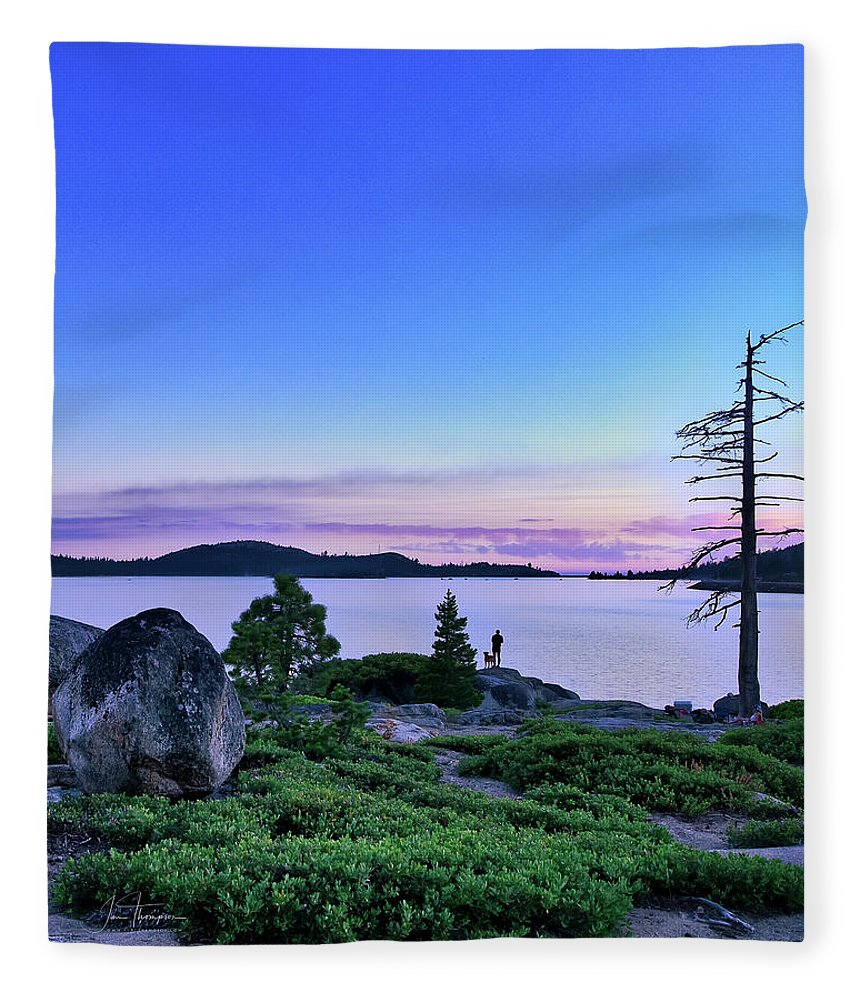 California Fleece Blanket featuring the photograph Man And Dog by Jim Thompson