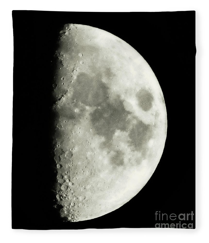 Lunar Fleece Blanket featuring the photograph Man In The Moon by September Stone