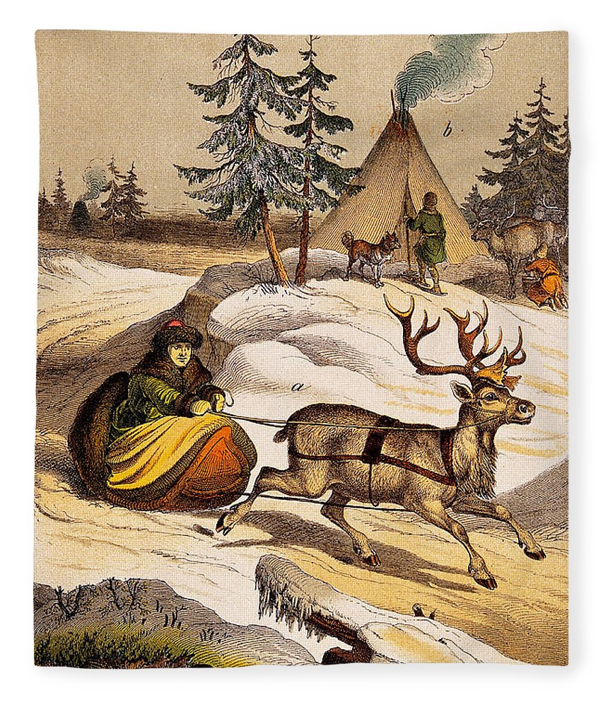 Historic Fleece Blanket featuring the photograph Man Riding Reindeer-drawn Sleigh by Wellcome Images