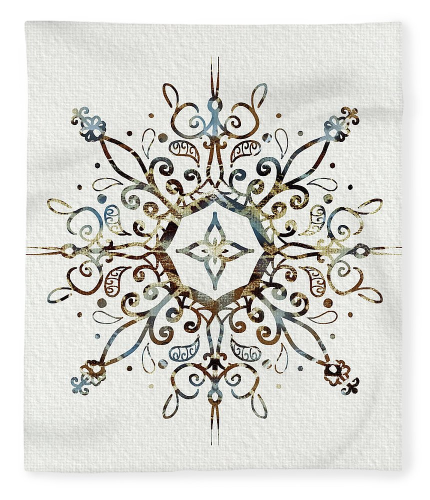Blue And Brown Mandala Fleece Blanket featuring the mixed media Mandala Earth And Water 3 by Patricia Lintner
