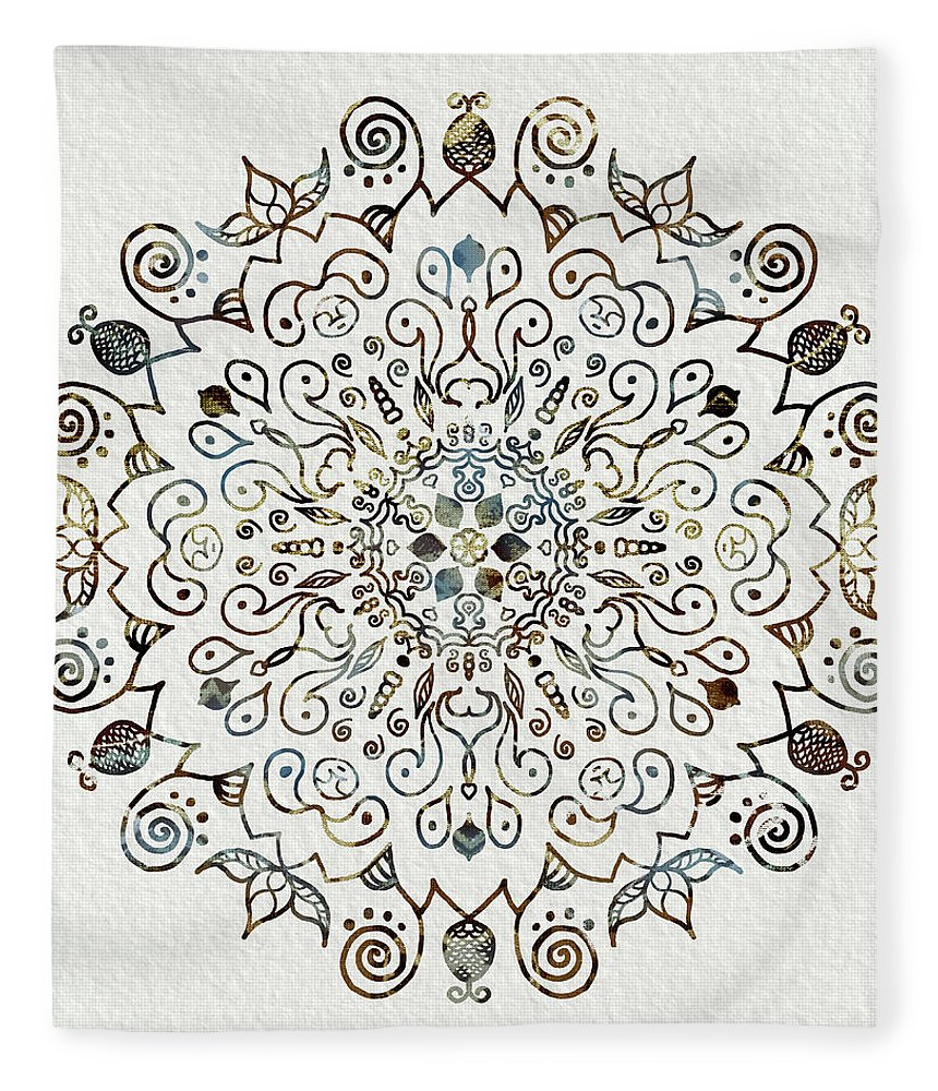 Blue And Brown Mandala Fleece Blanket featuring the mixed media Mandala Earth And Water 4 by Patricia Lintner