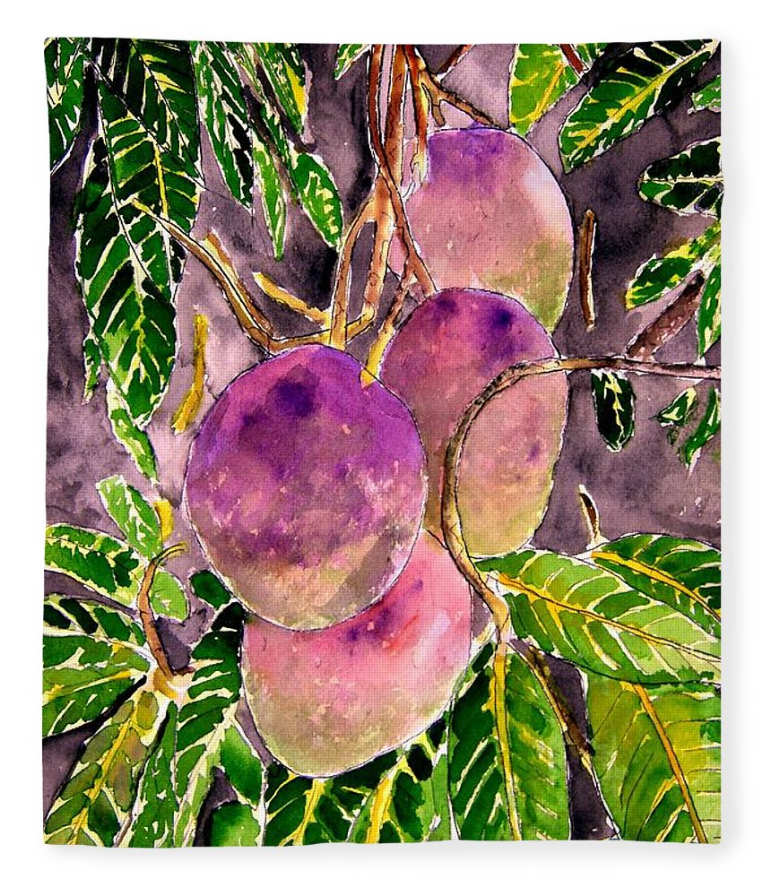 Mango Fleece Blanket featuring the painting Mango tree fruit by Derek Mccrea