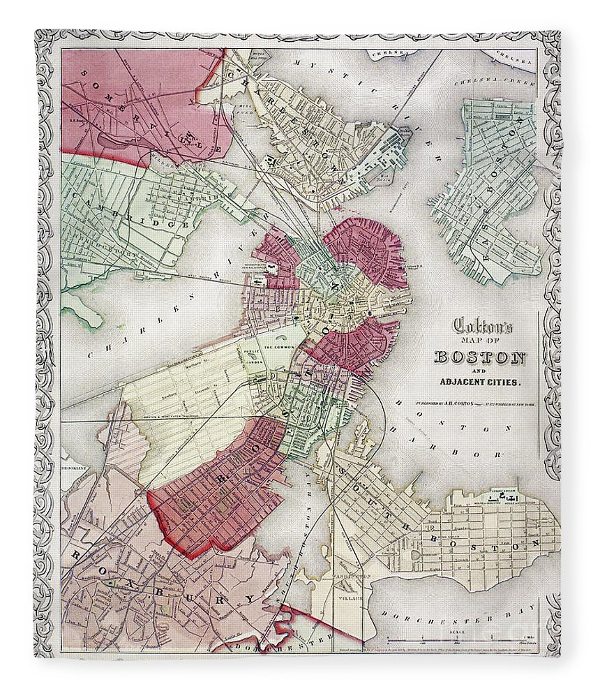 1865 Fleece Blanket featuring the photograph Map: Boston, 1865 by Granger