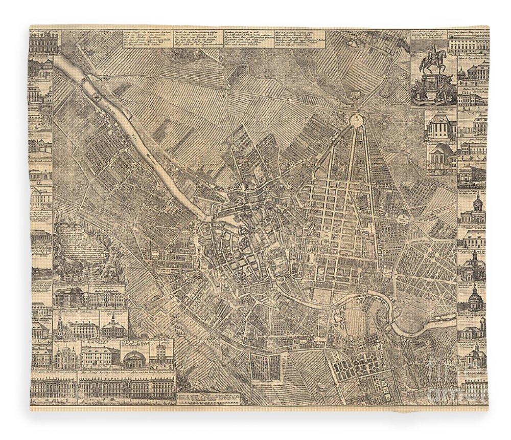 Maps Fleece Blanket featuring the painting Map Of Berlin Showing Buildings Of Interest, 1773 by Johann David Schleuen