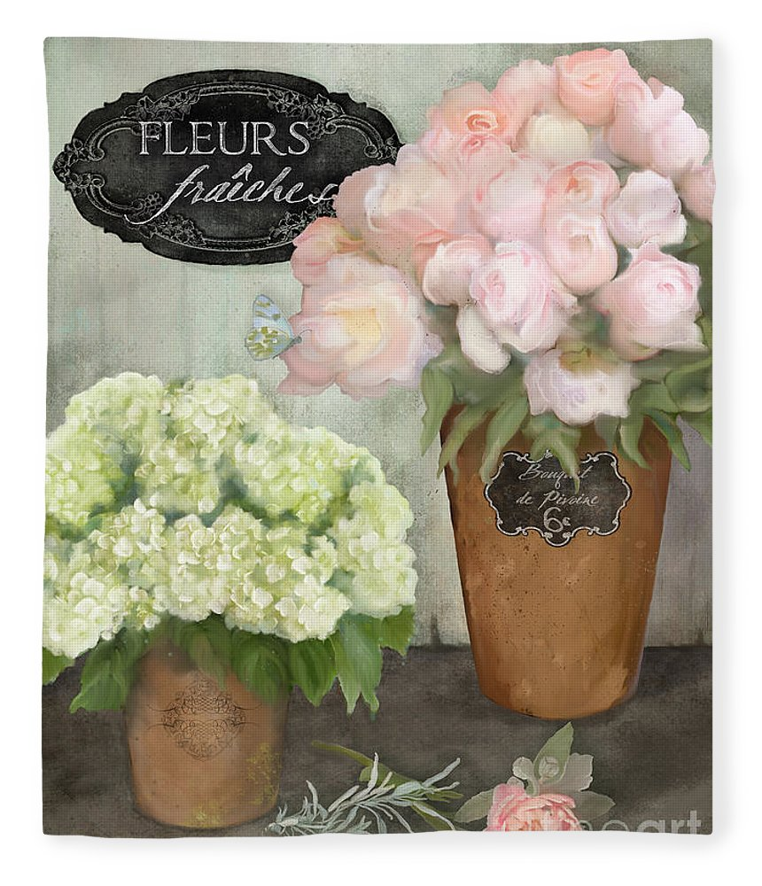 French Flower Market Fleece Blanket featuring the painting Marche Aux Fleurs 2 - Peonies N Hydrangeas by Audrey Jeanne Roberts